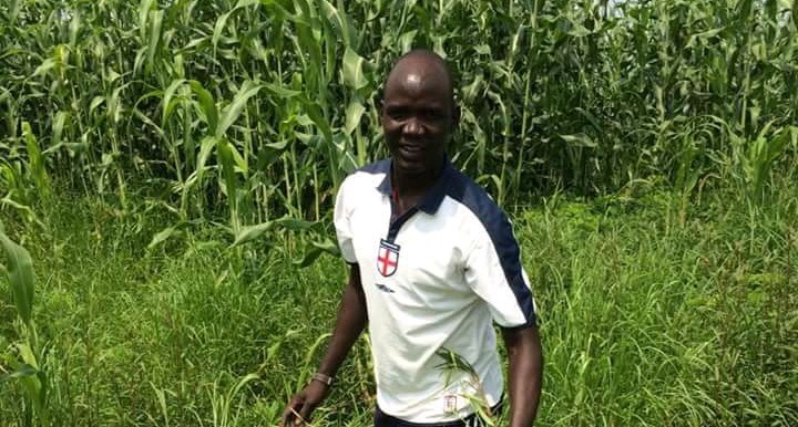 Photo: Farmer Abel Majur stands in his farm in Jonglei State (Radio Tamazuj)