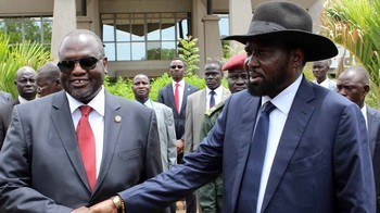 South Sudan's President Salva Kiir Mayardit and First Vice President Dr. Riek Machar
