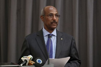 Ethiopia's former foreign minister, Seyoum Mesfin, addresses the final mediation report on South Sudan in Ethiopia's capital Addis Ababa, April 2, 2016. [Photo: Reuters/Tiksa Negeri]